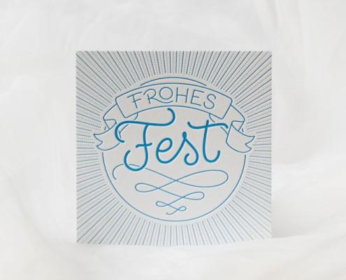 Weihnachtskarte mit Lettering »Frohes Fest«, gedruckt im Letterpress