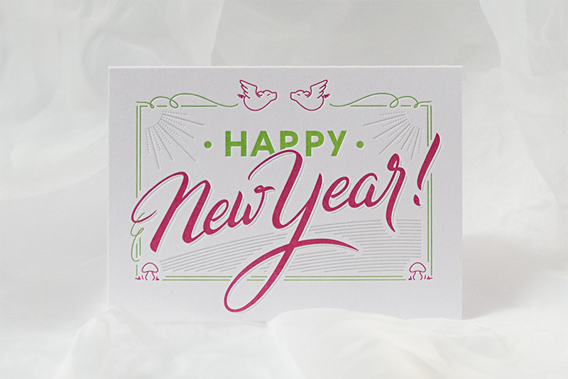 Weihnachtskarte mit Lettering »Happy New Year«, gedruckt im Letterpress