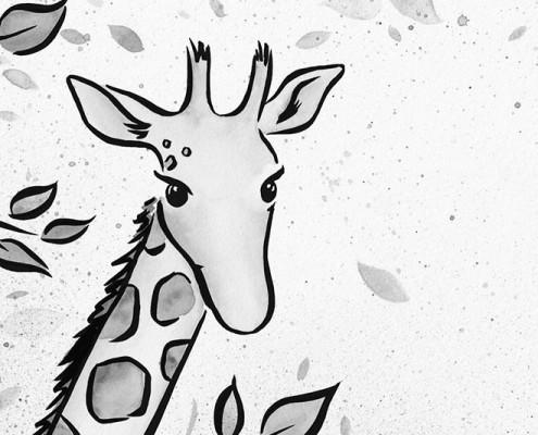 Illustration Giraffe für Kinderbuch über gewaltfreie Kommunikation, Aquarell