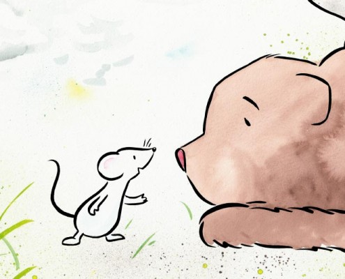 Illustration Maus und Bär für Kinderbuch über gewaltfreie Kommunikation, Aquarell