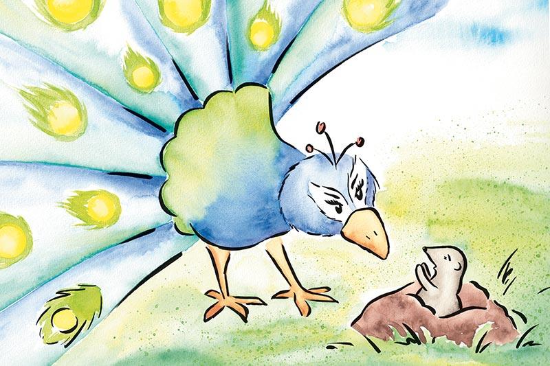 Illustration für Kinderbuch über gewaltfreie Kommunikation, Aquarell: Konflikt zwischen Pfau und Maulwurf