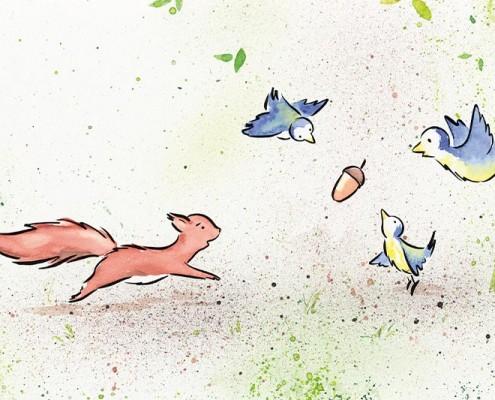 Illustration Kinderbuch GfK, Aquarell: Eichhörnchen und Blaumeisen streiten um Nuss