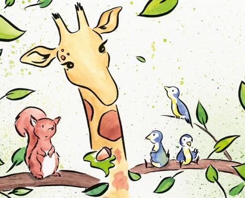 Illustration Kinderbuch GfK, Aquarell: Giraffe schlichtet Streit zwischen Eichhörnchen und Blaumeisen