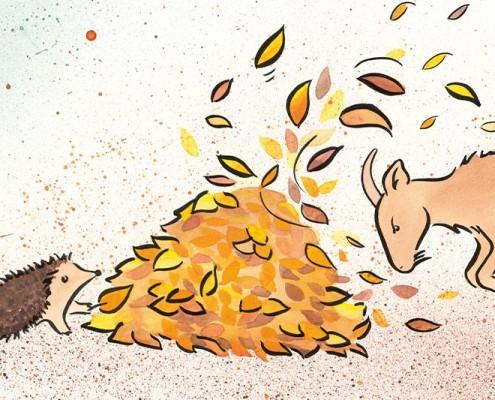 Illustration für Kinderbuch GfK, Aquarell: Konflikt – Ziege zerstört Igels Laubhaufen