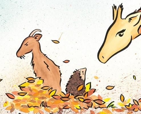 Illustration für Kinderbuch über gewaltfreie Kommunikation, Aquarell: Giraffe schlichtet Konflikt zwischen Igel und Ziege