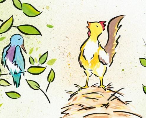 Illustration für Kinderbuch über gewaltfreie Kommunikation, Aquarell: Hahn weckt Kolibri