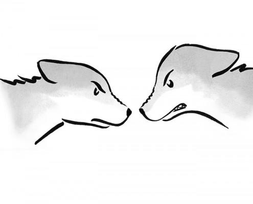 Illustration für Kinderbuch über gewaltfreie Kommunikation: böse Wölfe