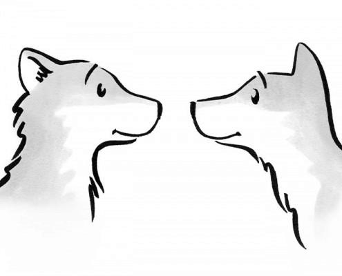 Illustration für Kinderbuch über gewaltfreie Kommunikation: freundliche Wölfe