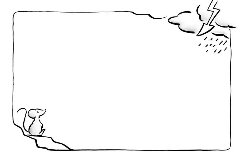 GfK-Kinderbuch, Illustration Mitmachseite: Mia Maus beobachtet das Gewitter