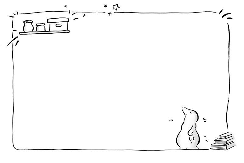 GfK-Kinderbuch, Illustration Mitmachseite: Martha Maulwurf glücklich in ihrer frisch geputzten Wohnung