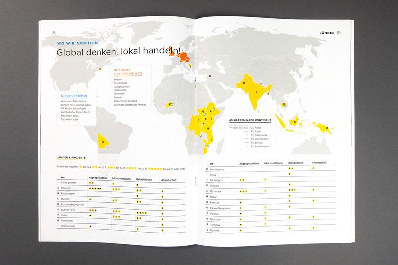 Jahresbericht innen: Weltkarte mit den Mitglieds- und Projektländern von Licht für die Welt. Die Tabelle darunter listet die Projektländer alphabetisch auf und zeigt die Anzahl der Projekte, gruppiert nach Tätigkeitsbereichen.