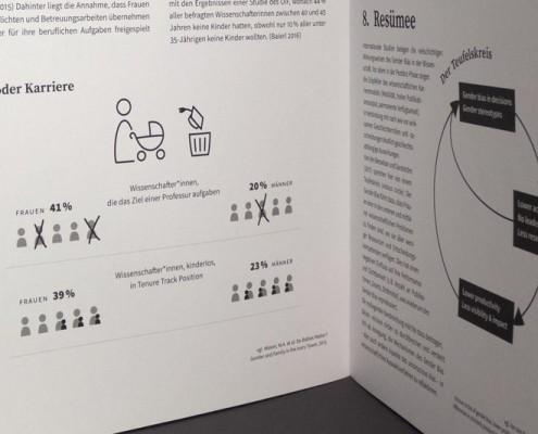 Infografik »Kind oder Karriere«: In höheren Positionen finden sich mehr kinderlose Frauen als kinderlose Männer.